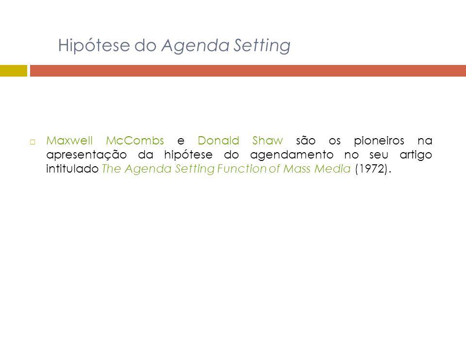 Hipótese do Agenda Setting Maxwell McCombs e Donald Shaw são os pioneiros na apresentação da hipótese do agendamento no seu artigo intitulado The Agen