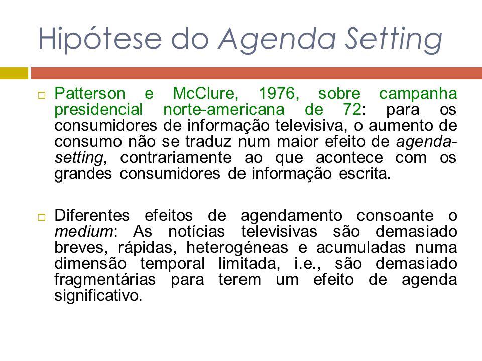 Hipótese do Agenda Setting Patterson e McClure, 1976, sobre campanha presidencial norte-americana de 72: para os consumidores de informação televisiva