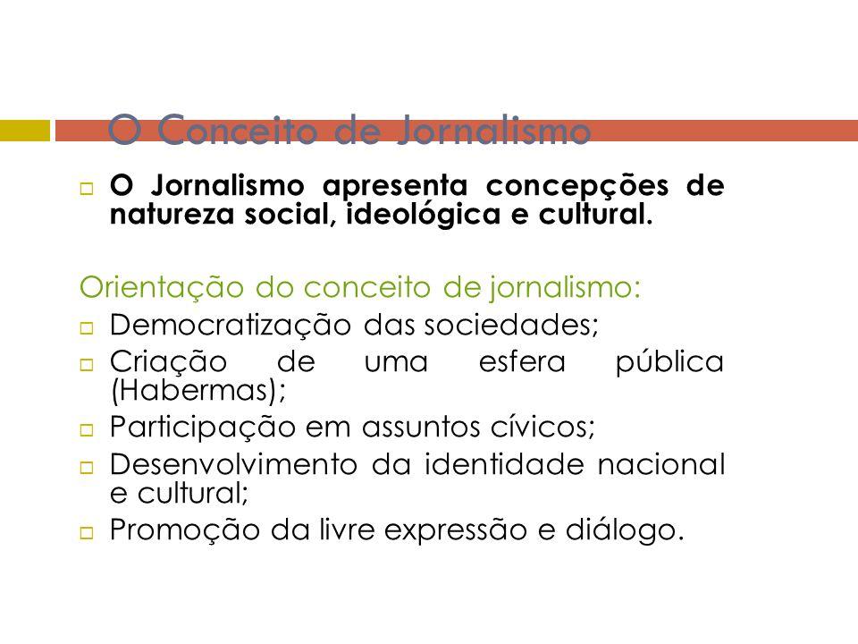 Conceito de Jornalismo Intervenção do Estado é necessária para organizar e/ou regular a atividade dos media.