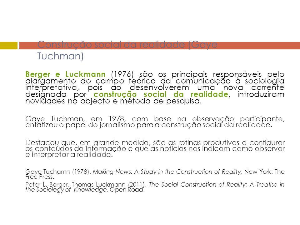 Construção social da realidade (Gaye Tuchman) Berger e Luckmann (1976) são os principais responsáveis pelo alargamento do campo teórico da comunicação