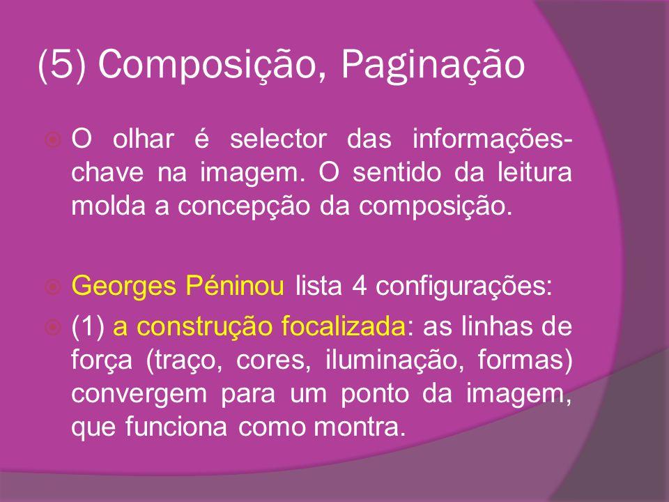 (5) Composição, Paginação O olhar é selector das informações- chave na imagem. O sentido da leitura molda a concepção da composição. Georges Péninou l