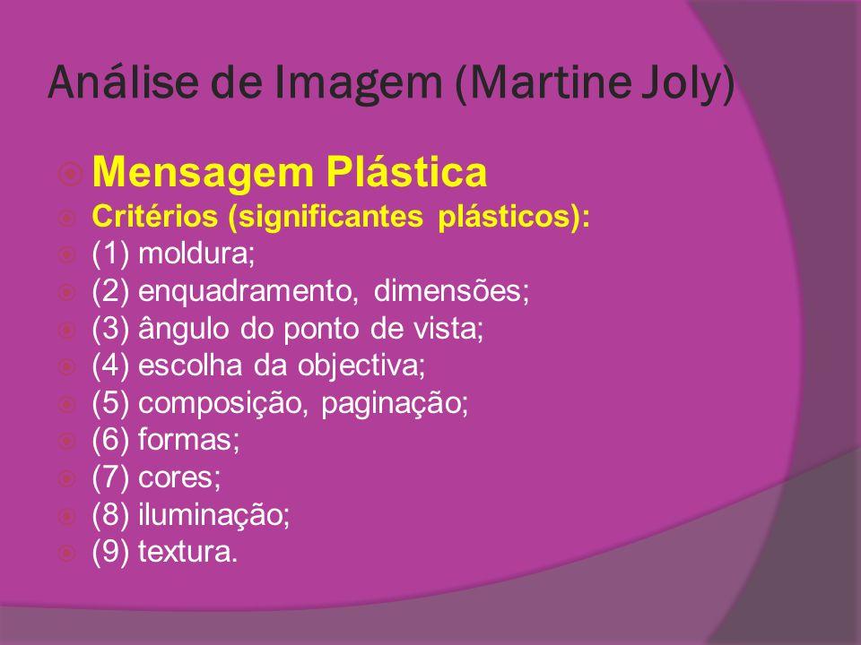 Análise de Imagem (Martine Joly) Mensagem Plástica Critérios (significantes plásticos): (1) moldura; (2) enquadramento, dimensões; (3) ângulo do ponto