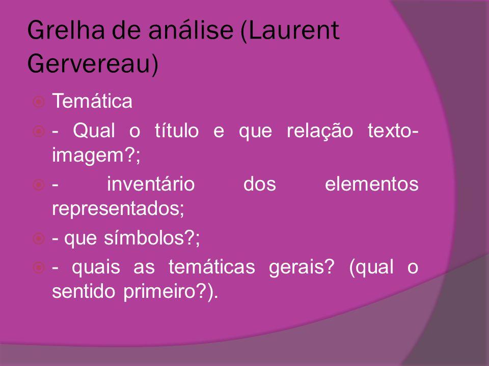 Grelha de análise (Laurent Gervereau) Temática - Qual o título e que relação texto- imagem?; - inventário dos elementos representados; - que símbolos?