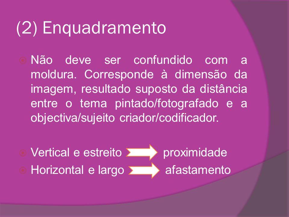 (2) Enquadramento Não deve ser confundido com a moldura. Corresponde à dimensão da imagem, resultado suposto da distância entre o tema pintado/fotogra