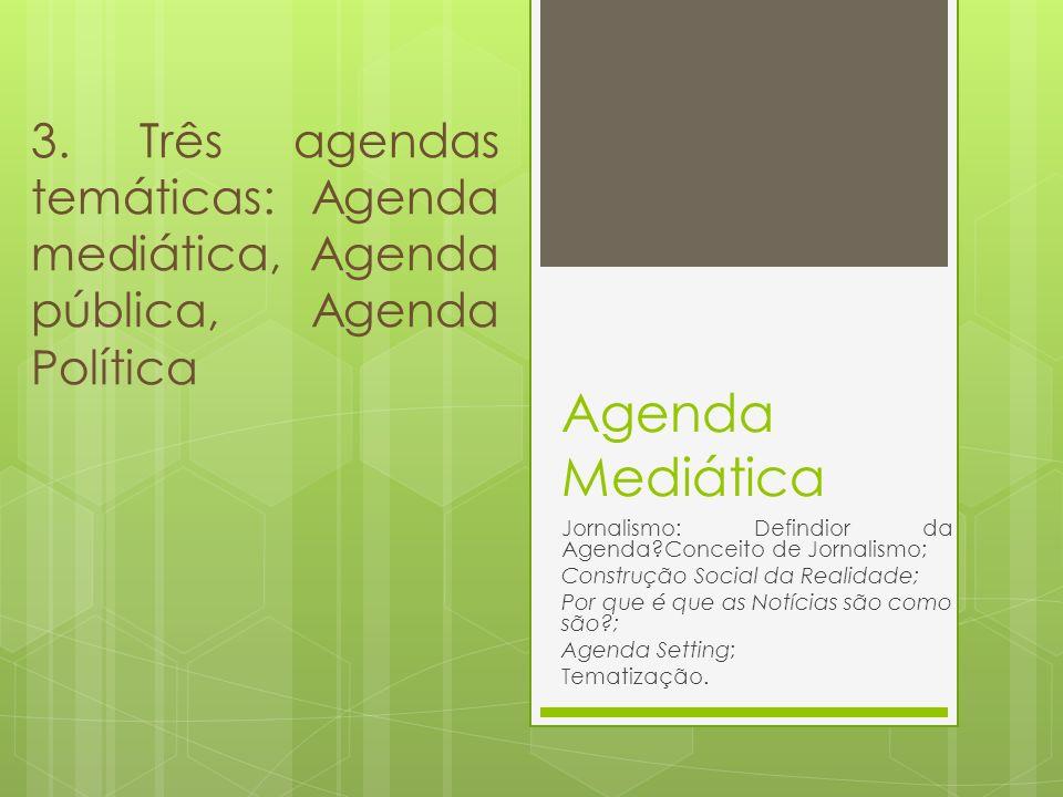 Agenda Mediática Jornalismo: Defindior da Agenda?Conceito de Jornalismo; Construção Social da Realidade; Por que é que as Notícias são como são?; Agen