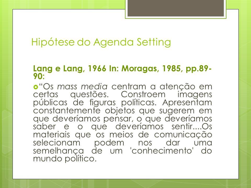 Hipótese do Agenda Setting Lang e Lang, 1966 In: Moragas, 1985, pp.89- 90: Os mass media centram a atenção em certas questões. Constroem imagens públi