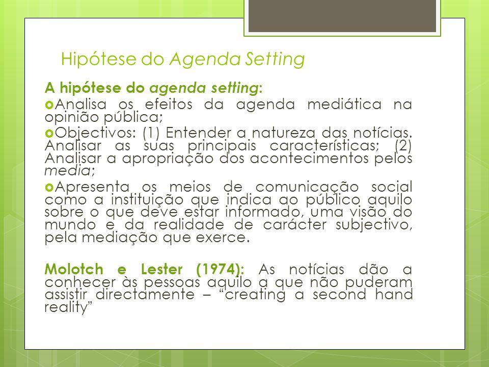 Hipótese do Agenda Setting A hipótese do agenda setting : Analisa os efeitos da agenda mediática na opinião pública; Objectivos: (1) Entender a nature