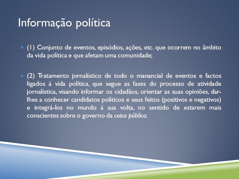 Informação política (1) Conjunto de eventos, episódios, ações, etc.