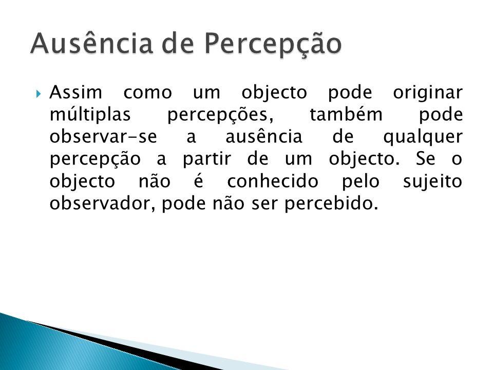 Assim como um objecto pode originar múltiplas percepções, também pode observar-se a ausência de qualquer percepção a partir de um objecto. Se o object