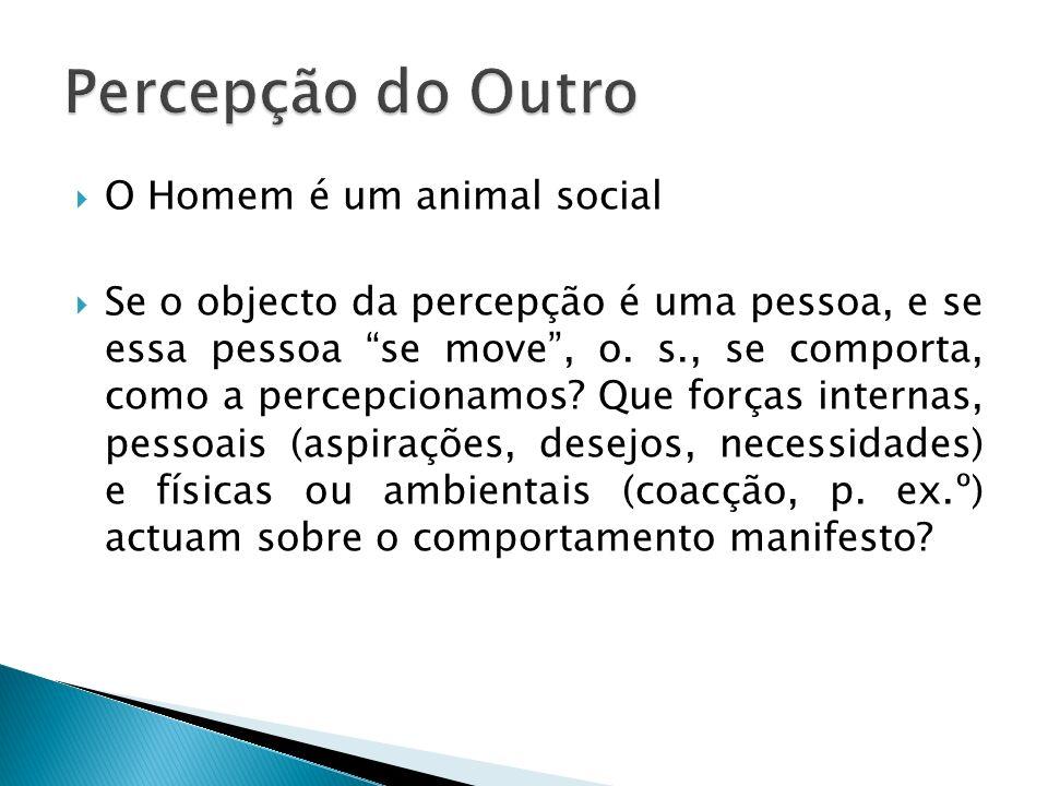 O Homem é um animal social Se o objecto da percepção é uma pessoa, e se essa pessoa se move, o. s., se comporta, como a percepcionamos? Que forças int