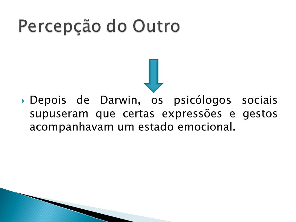 Depois de Darwin, os psicólogos sociais supuseram que certas expressões e gestos acompanhavam um estado emocional.