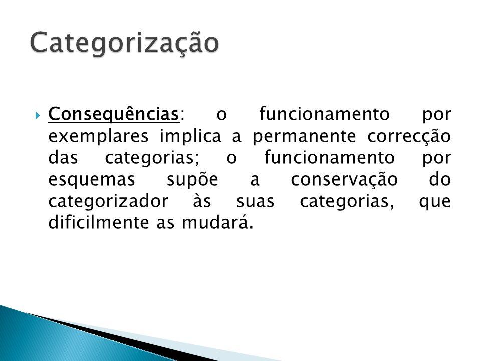 Consequências: o funcionamento por exemplares implica a permanente correcção das categorias; o funcionamento por esquemas supõe a conservação do categ