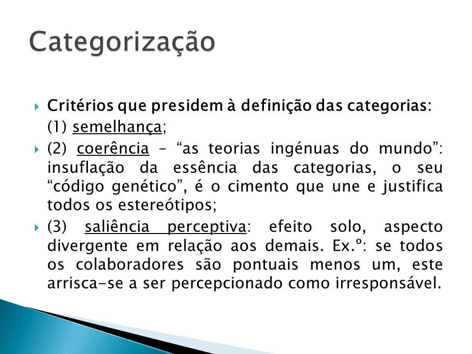 Critérios que presidem à definição das categorias: (1) semelhança; (2) coerência – as teorias ingénuas do mundo: insuflação da essência das categorias