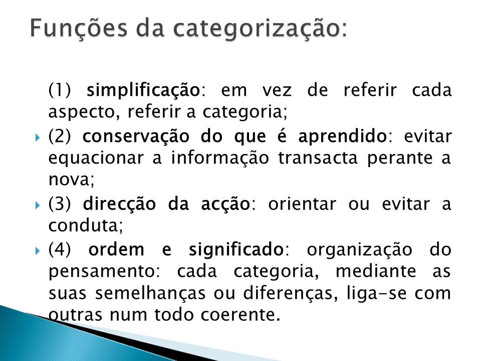 (1) simplificação: em vez de referir cada aspecto, referir a categoria; (2) conservação do que é aprendido: evitar equacionar a informação transacta p