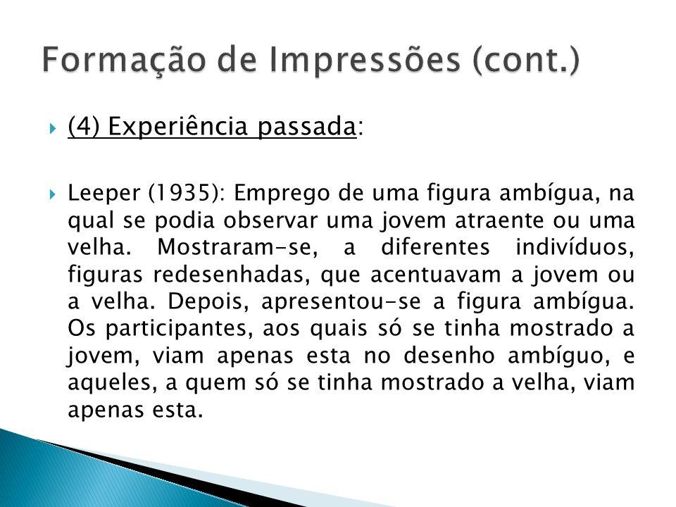 (4) Experiência passada: Leeper (1935): Emprego de uma figura ambígua, na qual se podia observar uma jovem atraente ou uma velha. Mostraram-se, a dife