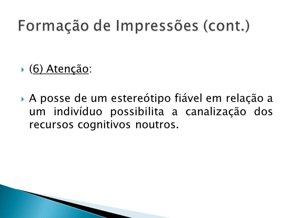 (6) Atenção: A posse de um estereótipo fiável em relação a um indivíduo possibilita a canalização dos recursos cognitivos noutros.