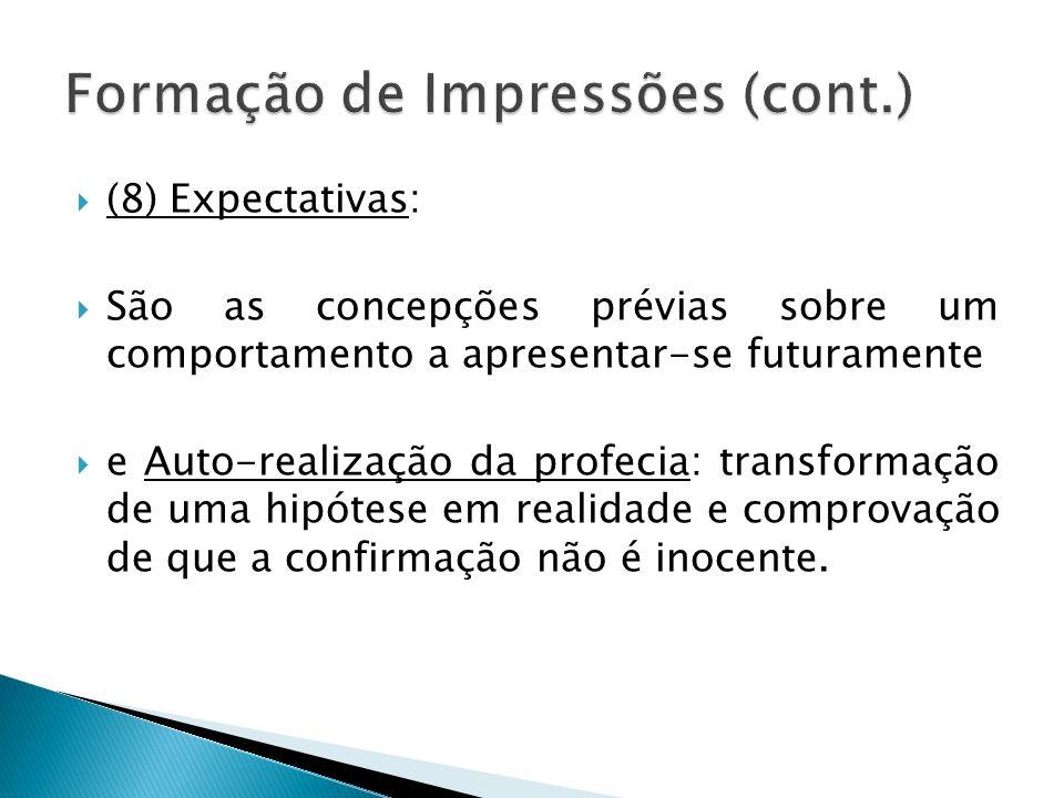 (8) Expectativas: São as concepções prévias sobre um comportamento a apresentar-se futuramente e Auto-realização da profecia: transformação de uma hip