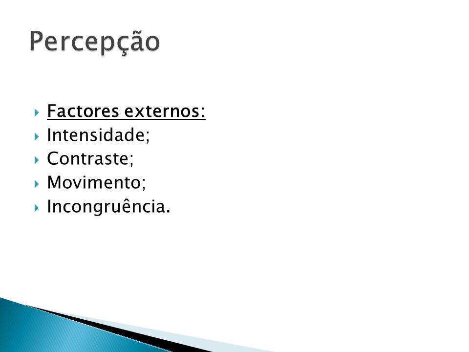 Factores externos: Intensidade; Contraste; Movimento; Incongruência.