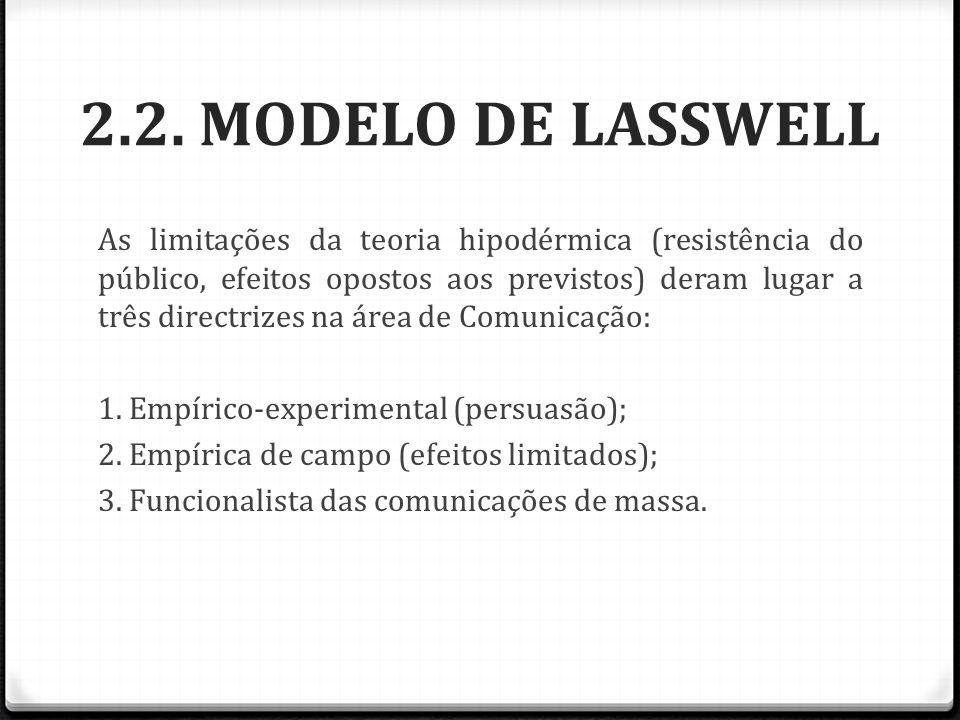 2.2. MODELO DE LASSWELL As limitações da teoria hipodérmica (resistência do público, efeitos opostos aos previstos) deram lugar a três directrizes na