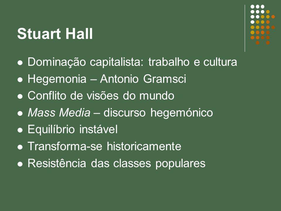 Stuart Hall Dominação capitalista: trabalho e cultura Hegemonia – Antonio Gramsci Conflito de visões do mundo Mass Media – discurso hegemónico Equilíb
