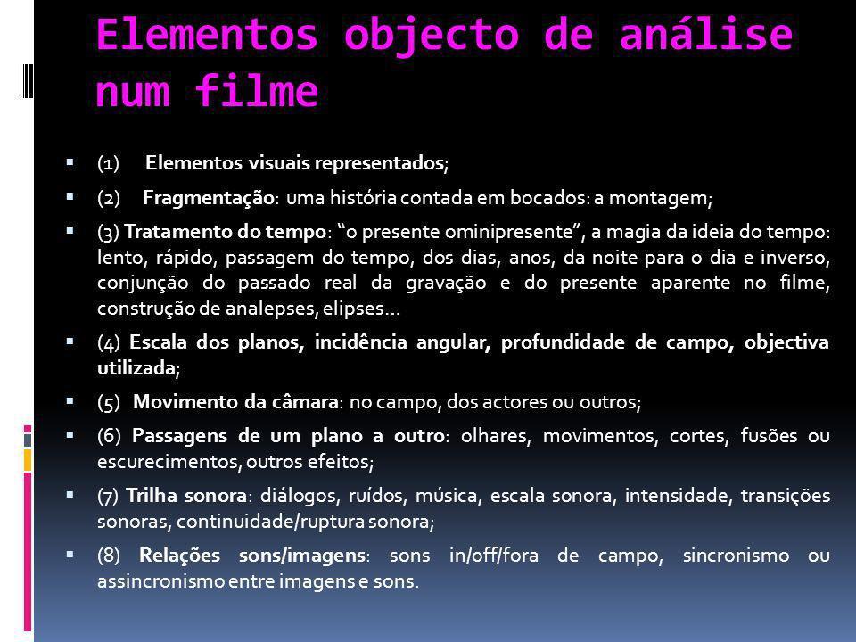 Elementos objecto de análise num filme (1) Elementos visuais representados; (2) Fragmentação: uma história contada em bocados: a montagem; (3) Tratame
