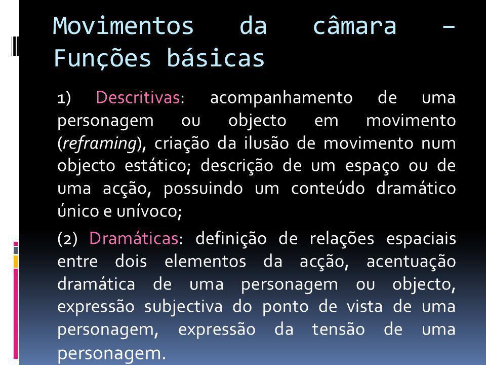 Movimentos da câmara – Funções básicas 1) Descritivas: acompanhamento de uma personagem ou objecto em movimento (reframing), criação da ilusão de movi