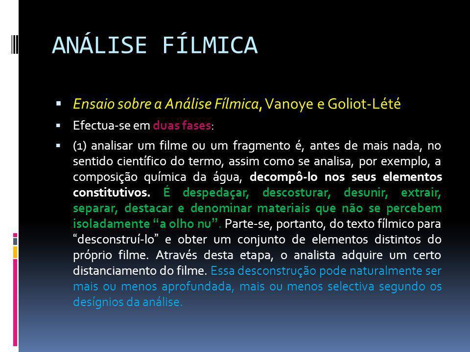 ANÁLISE FÍLMICA Ensaio sobre a Análise Fílmica, Vanoye e Goliot-Lété Efectua-se em duas fases: (1) analisar um filme ou um fragmento é, antes de mais