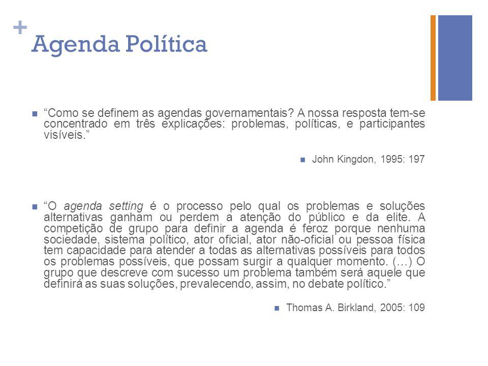 + Agenda Política Como se definem as agendas governamentais? A nossa resposta tem-se concentrado em três explicações: problemas, políticas, e particip