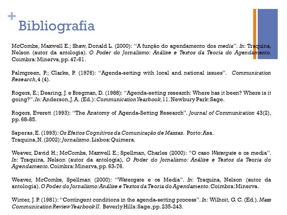 + Bibliografia McCombs, Maxwell E.; Shaw, Donald L. (2000): A função do agendamento dos media. In: Traquina, Nelson (autor da antologia). O Poder do J