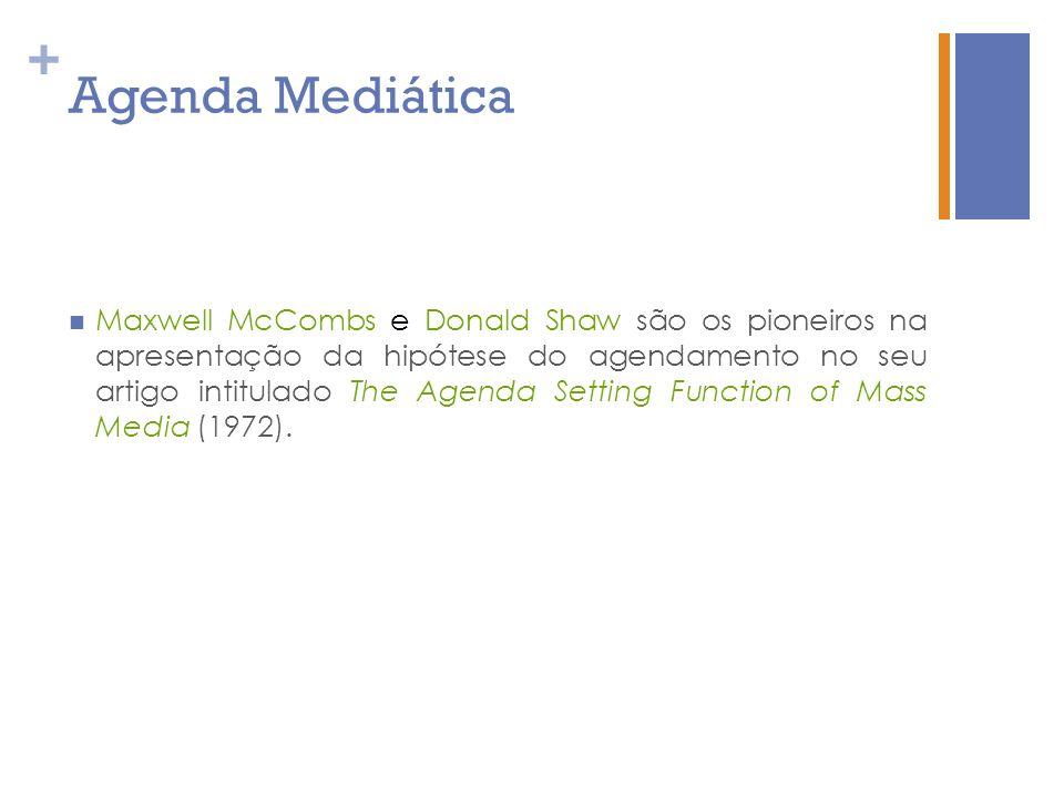 + Agenda Mediática Maxwell McCombs e Donald Shaw são os pioneiros na apresentação da hipótese do agendamento no seu artigo intitulado The Agenda Setti