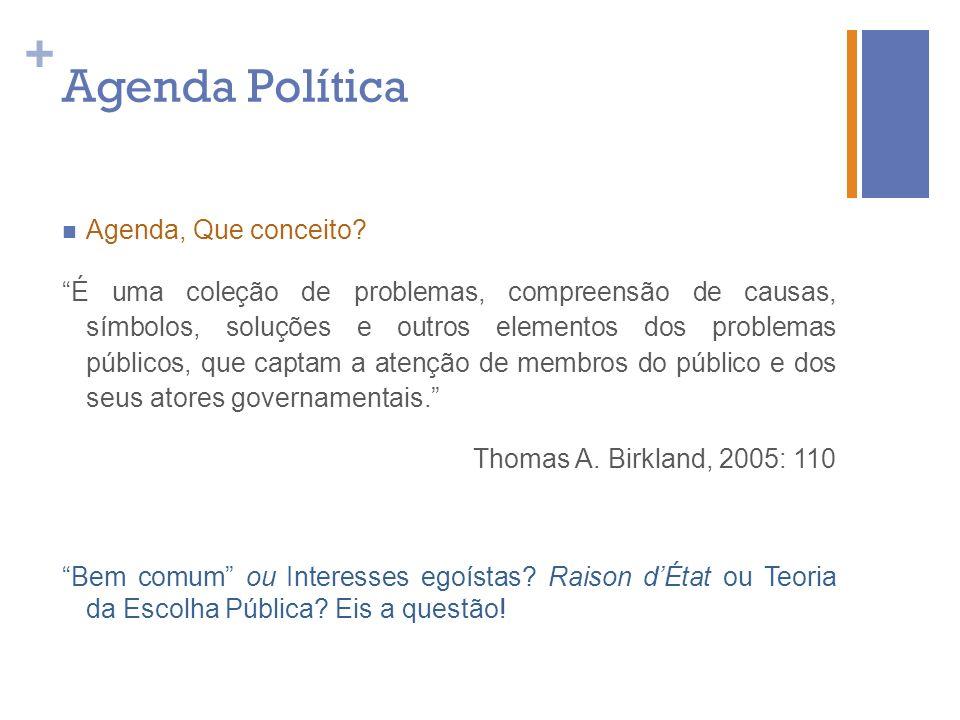 + Agenda Política Agenda, Que conceito? É uma coleção de problemas, compreensão de causas, símbolos, soluções e outros elementos dos problemas público