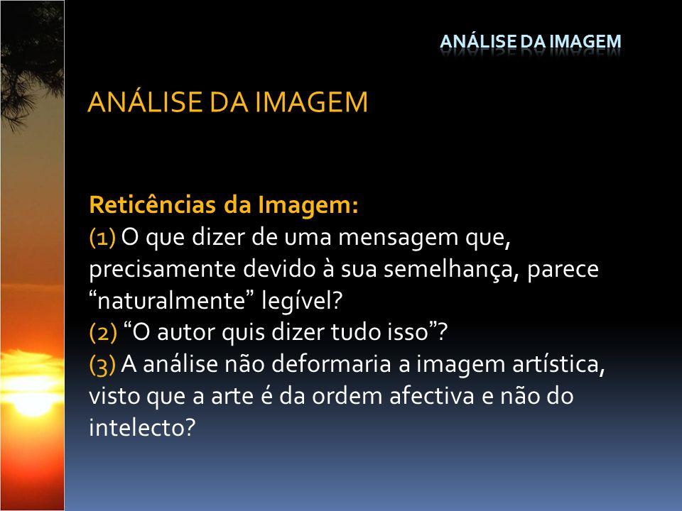 Reticências da Imagem: (1) O que dizer de uma mensagem que, precisamente devido à sua semelhança, parecenaturalmente legível? (2) O autor quis dizer t