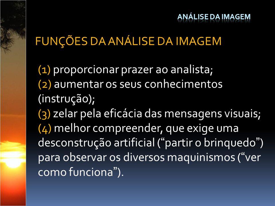 (1) proporcionar prazer ao analista; (2) aumentar os seus conhecimentos (instrução); (3) zelar pela eficácia das mensagens visuais; (4) melhor compree