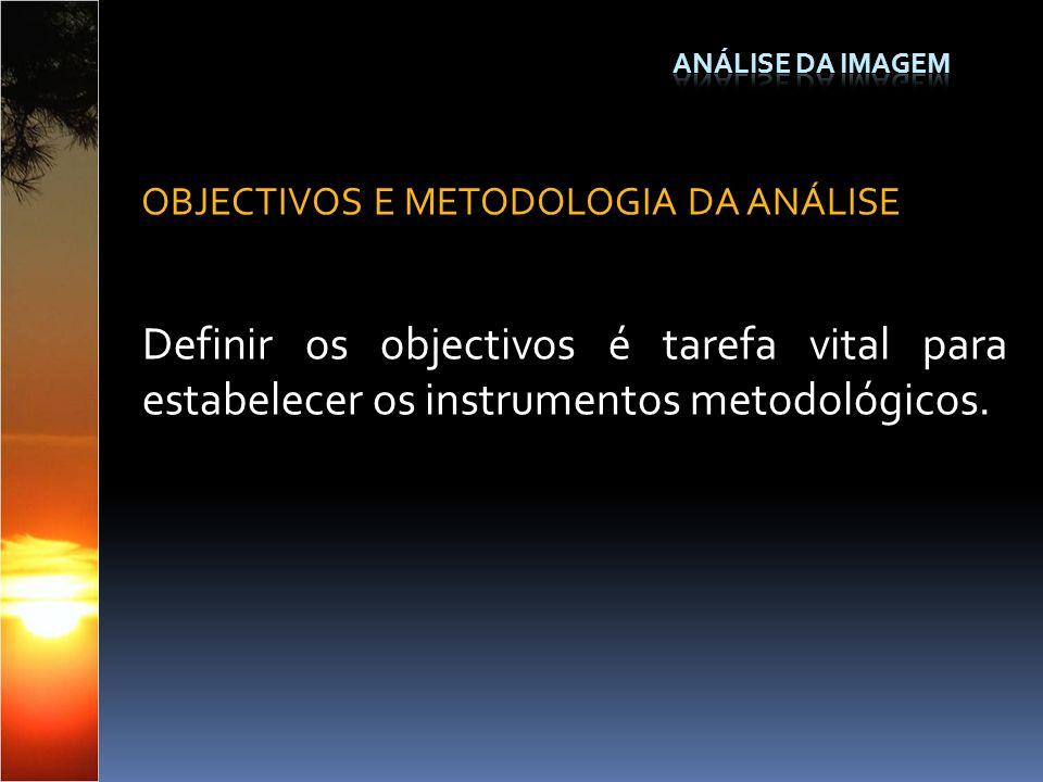 Definir os objectivos é tarefa vital para estabelecer os instrumentos metodológicos. OBJECTIVOS E METODOLOGIA DA ANÁLISE