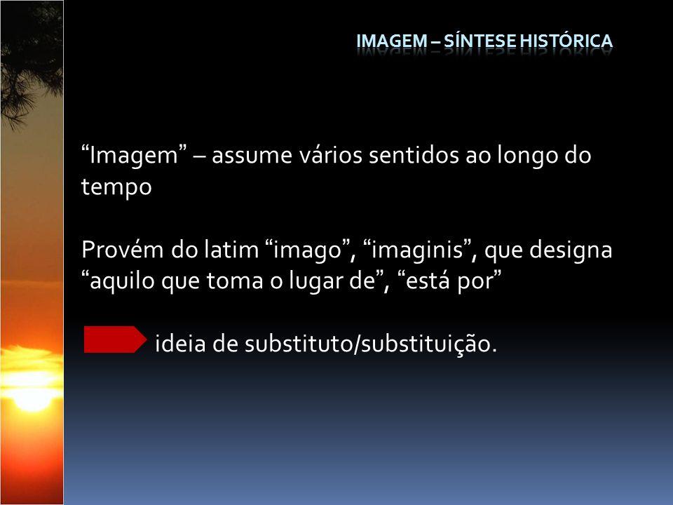 Imagem – assume vários sentidos ao longo do tempo Provém do latim imago, imaginis, que designaaquilo que toma o lugar de, está por ideia de substituto