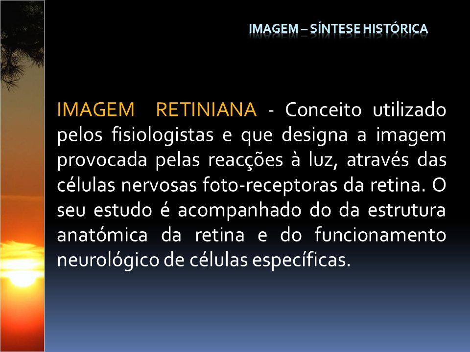 IMAGEM RETINIANA - Conceito utilizado pelos fisiologistas e que designa a imagem provocada pelas reacções à luz, através das células nervosas foto-rec