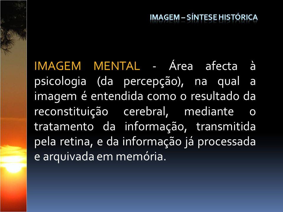 IMAGEM MENTAL - Área afecta à psicologia (da percepção), na qual a imagem é entendida como o resultado da reconstituição cerebral, mediante o tratamen