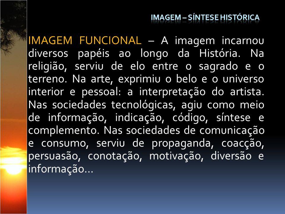 IMAGEM FUNCIONAL – A imagem incarnou diversos papéis ao longo da História. Na religião, serviu de elo entre o sagrado e o terreno. Na arte, exprimiu o