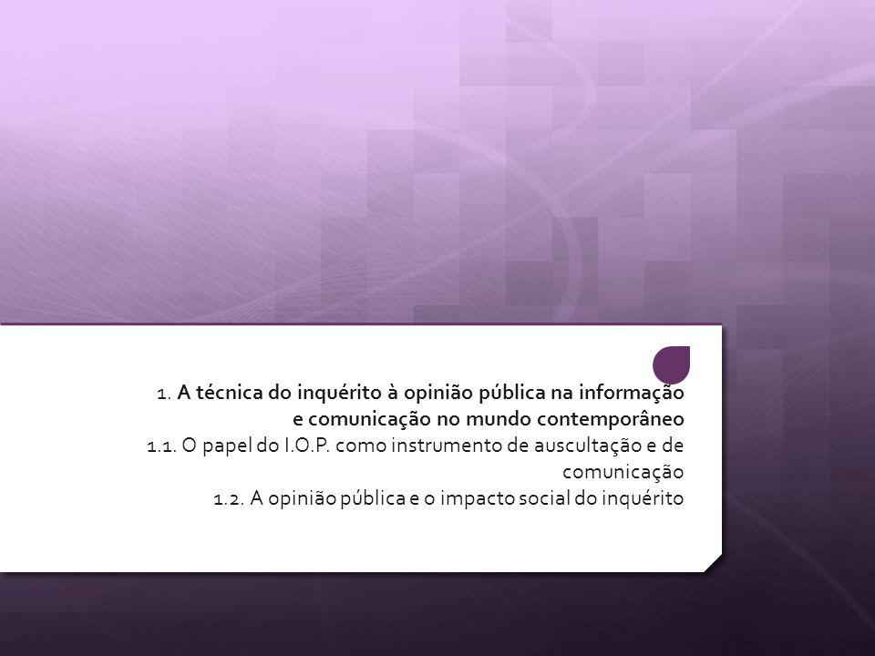 1. A técnica do inquérito à opinião pública na informação e comunicação no mundo contemporâneo 1.1. O papel do I.O.P. como instrumento de auscultação