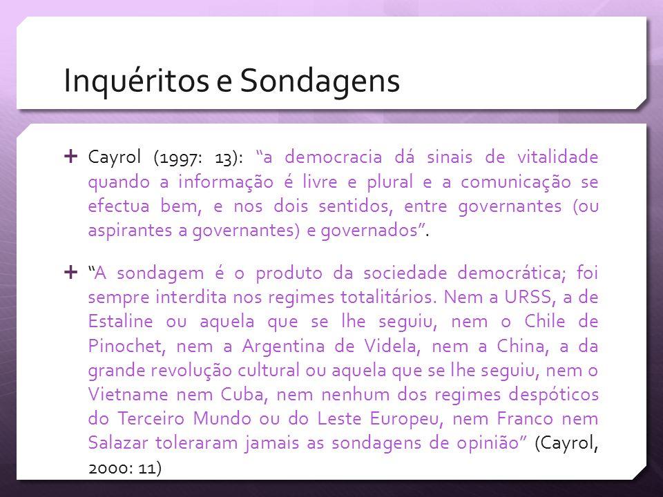 Inquéritos e Sondagens Cayrol (1997: 13): a democracia dá sinais de vitalidade quando a informação é livre e plural e a comunicação se efectua bem, e