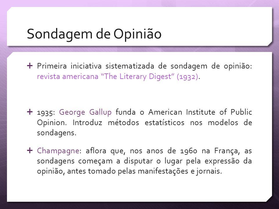 Sondagem de Opinião Primeira iniciativa sistematizada de sondagem de opinião: revista americana The Literary Digest (1932). 1935: George Gallup funda