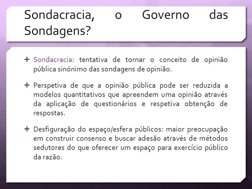 Sondacracia, o Governo das Sondagens? Sondacracia: tentativa de tornar o conceito de opinião pública sinónimo das sondagens de opinião. Perspetiva de