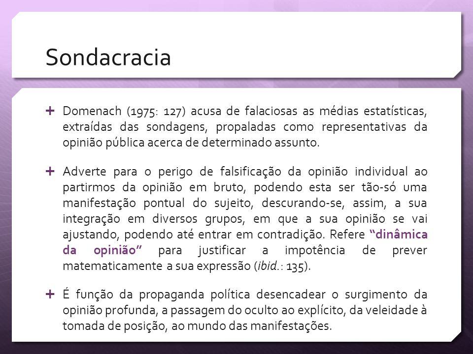 Sondacracia Domenach (1975: 127) acusa de falaciosas as médias estatísticas, extraídas das sondagens, propaladas como representativas da opinião públi