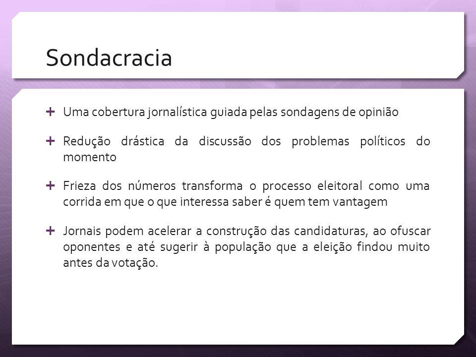 Sondacracia Uma cobertura jornalística guiada pelas sondagens de opinião Redução drástica da discussão dos problemas políticos do momento Frieza dos n