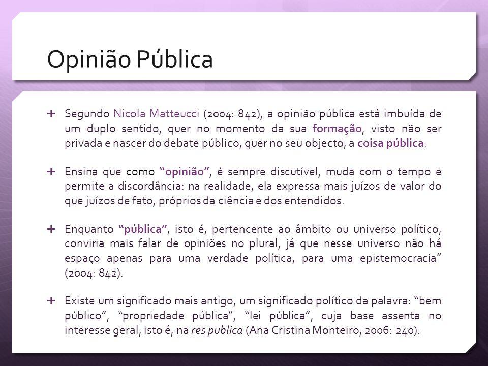 Opinião Pública Segundo Nicola Matteucci (2004: 842), a opinião pública está imbuída de um duplo sentido, quer no momento da sua formação, visto não s