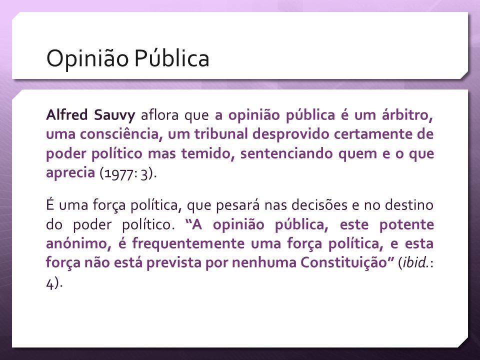 Opinião Pública Alfred Sauvy aflora que a opinião pública é um árbitro, uma consciência, um tribunal desprovido certamente de poder político mas temid
