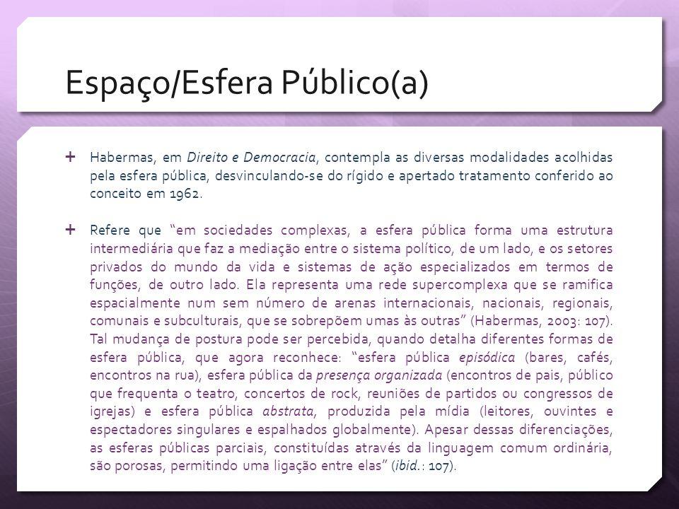 Espaço/Esfera Público(a) Habermas, em Direito e Democracia, contempla as diversas modalidades acolhidas pela esfera pública, desvinculando-se do rígid