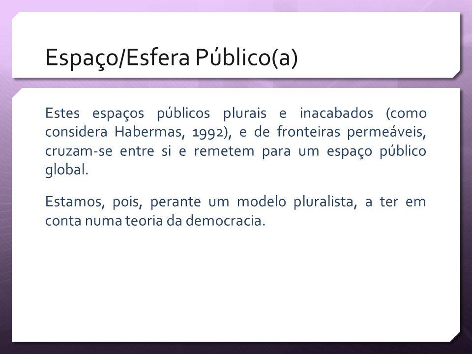 Espaço/Esfera Público(a) Estes espaços públicos plurais e inacabados (como considera Habermas, 1992), e de fronteiras permeáveis, cruzam-se entre si e