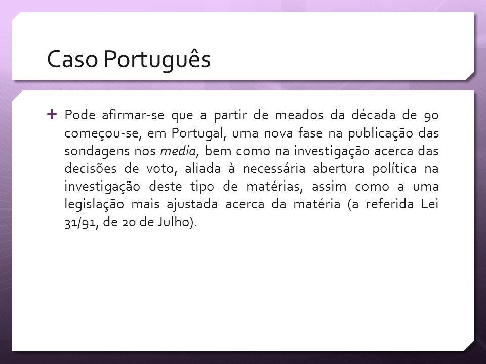 Caso Português Pode afirmar-se que a partir de meados da década de 90 começou-se, em Portugal, uma nova fase na publicação das sondagens nos media, be