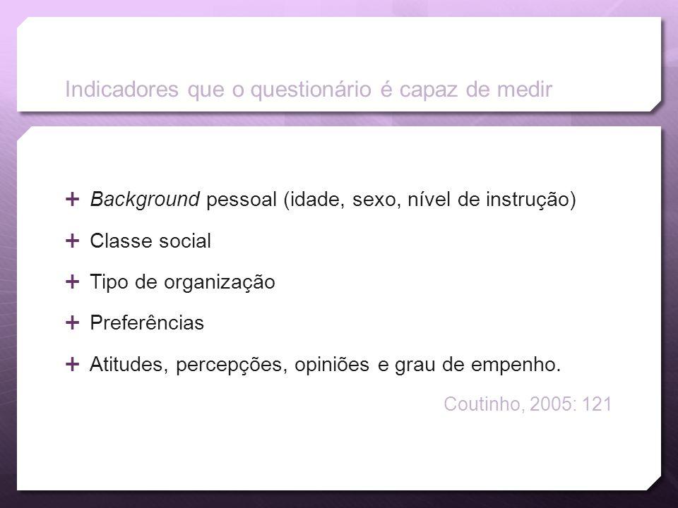 Indicadores que o questionário é capaz de medir Background pessoal (idade, sexo, nível de instrução) Classe social Tipo de organização Preferências At